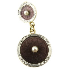 14 Karat Yellow Gold and Pearl Ancient Coin Replica Pendant