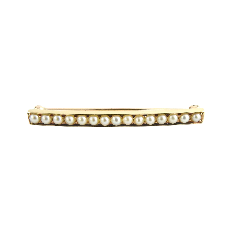 14 Karat Yellow Gold and Pearl Bar Pin