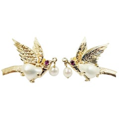 14 Karat Yellow Gold and Pearl Bird Stud Earrings