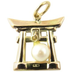 14 Karat Yellow Gold and Pearl Chinese Pagoda Pendant