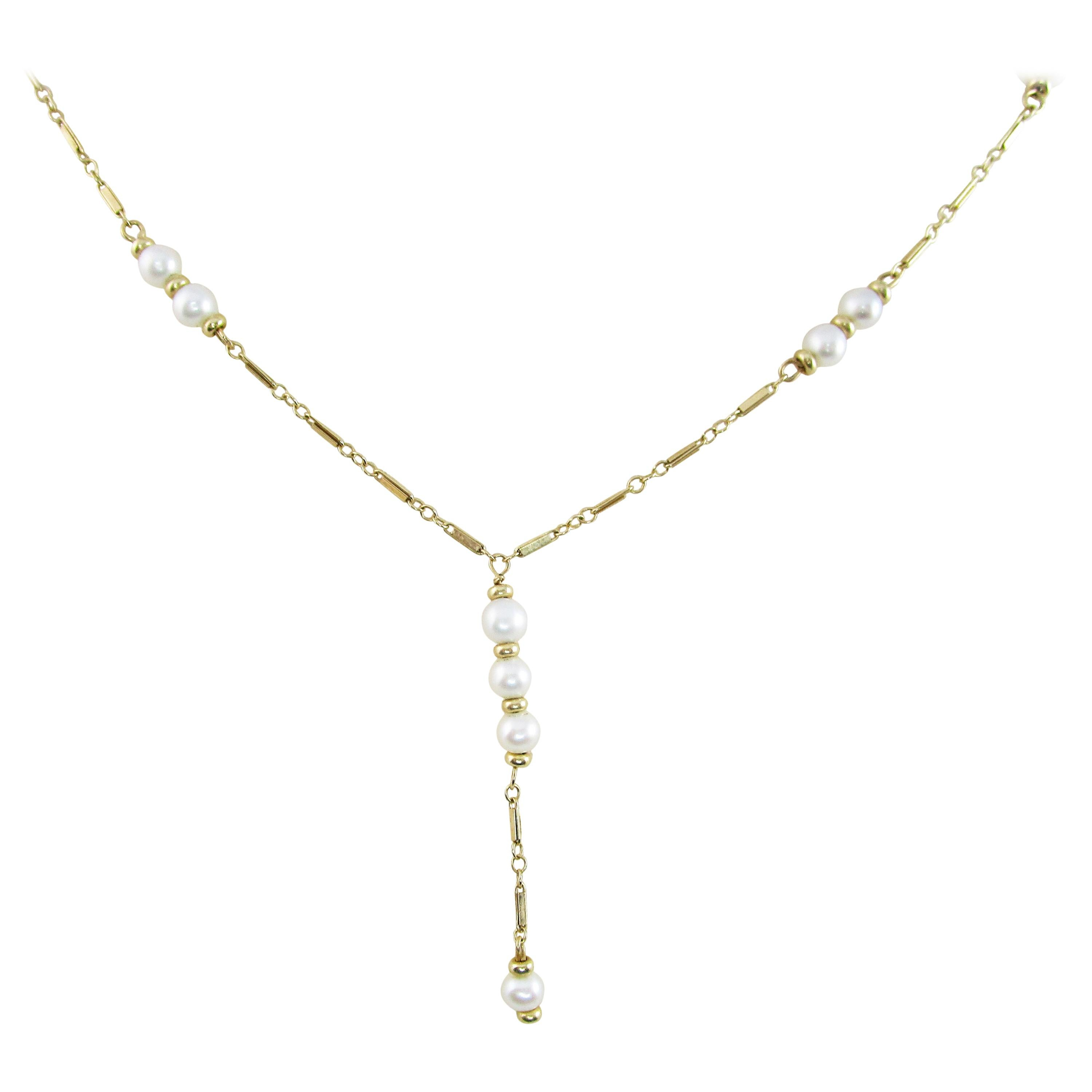 14 Karat Yellow Gold and Pearl Lariat Y Chain Necklace