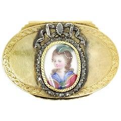 14 Karat Yellow Gold and Rose Cut Diamond Jewelry Box