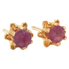 14 Karat Yellow Gold and Ruby Flower Stud Earrings