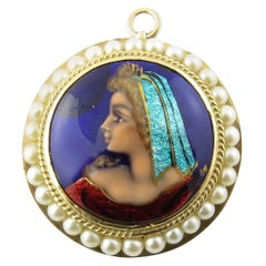 14 Karat Yellow Gold and Seed Pearl Painted Cameo Pendant / Brooch