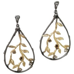 14 Karat Yellow Gold and Silver Bark and Leaf Diamond Earrings