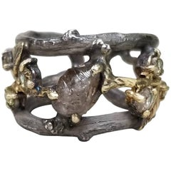 14 Karat Yellow Gold and Silver Bark Ring with Natural Rough Diamond