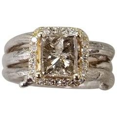 14 Karat Yellow Gold and Silver Diamond Ring