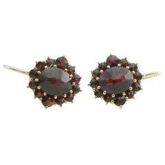 14 Karat Yellow Gold and Simulated Garnet Earrings