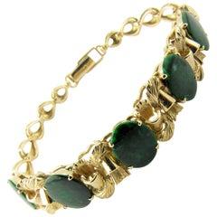 14 Karat Yellow Gold and Sliced Green Emerald Bracelet Bracelet