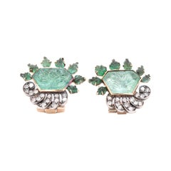 14 Karat Yellow Gold and Sterling Silver Emerald Diamond Earrings