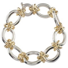 14 Karat Yellow Gold and Sterling Silver Heavy Link Bracelet 76.6 grams