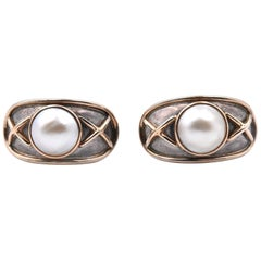 14 Karat Yellow Gold and Sterling Silver Mabe Pearl Earrings