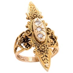 14 Karat Yellow Gold and Three Diamond Freeform Ring
