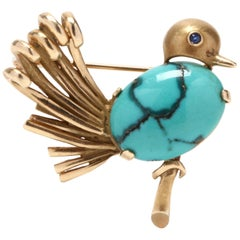 14 Karat Yellow Gold and Turquoise Bird Brooch
