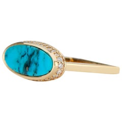 14 Karat Yellow Gold and Turquoise Ring with White Diamond Halo