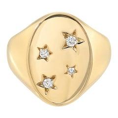 14 Karat Yellow Gold and White Diamond Classic Starred Signet