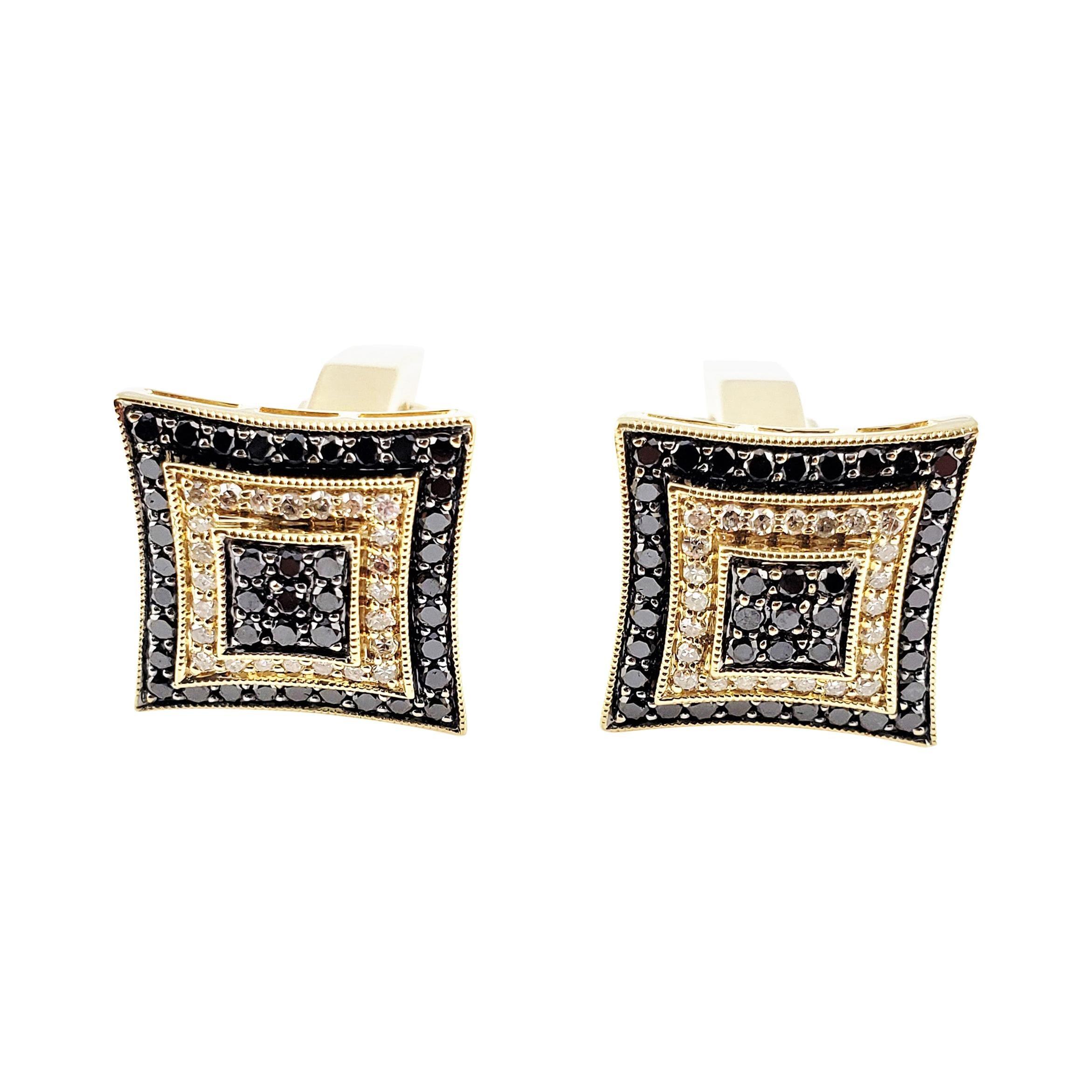 14 Karat Yellow Gold and White Gold Black and White Diamond Cufflinks