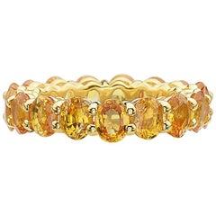 14 Karat Yellow Gold and Yellow Sapphire Eternity Band Ring