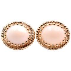 14 Karat Yellow Gold Angel Skin Coral Earrings