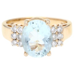 14 Karat Yellow Gold, Aquamarine and Diamond Ring, March Birthstone Ring