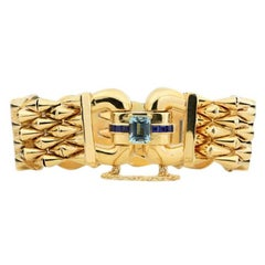 14 Karat Yellow Gold Aquamarine and Sapphire Flexible Ladies Bracelet