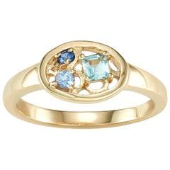 14 Karat Yellow Gold Aquamarine, Tanzanite and Blue Sapphire Ring