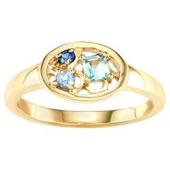 14 Karat Gold Aquamarine, Tanzanite and Blue Sapphire Ring Hi June Parker