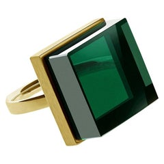 14 Karat Yellow Gold Art Deco Style Ring with Green Quartz, Featured in Vogue