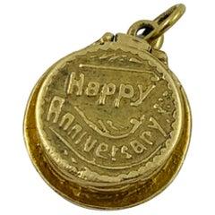 "14 Karat Yellow Gold Articulating ""Happy Anniversary"" Cake Charm Pendant"