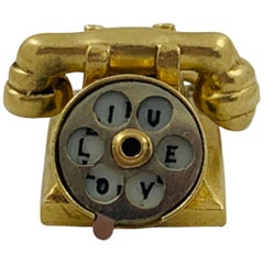 14 Karat Yellow Gold Articulating Rotary Phone Charm Pendant