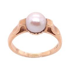 14 Karat Yellow Gold B & F Pearl Ring