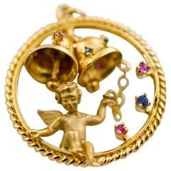 14 Karat Yellow Gold Baby Angel with Cherub Bells Charm Pendant