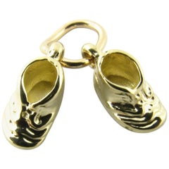 14 Karat Yellow Gold Baby Shoes Charm