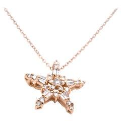 14 Karat Yellow Gold Baguette and Round Diamond Star Pendant