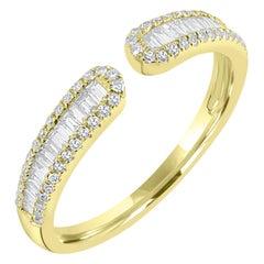 14 Karat Yellow Gold Baguette Diamond Cuff Ring