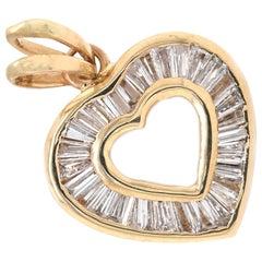 14 Karat Yellow Gold Baguette Diamond Heart Pendant