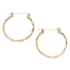 14 Karat Yellow Gold Bamboo Hoop Earrings