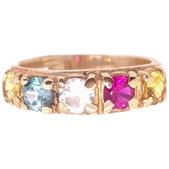 14 Karat Yellow Gold Band with Multicolored Semi Precious Stones