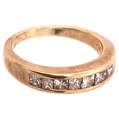 14 Karat Yellow Gold Band with Nine Diamonds Wedding Anniversary 1.00 TDW