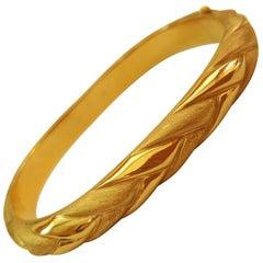 14 Karat Yellow Gold Bangle Bracelet, Rounded Square, Texture Finish
