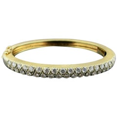 14 Karat Yellow Gold Bangle with 40 Diamonds