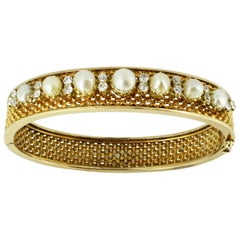 14 Karat Yellow Gold Bangle with Freshwater Pearls and Diamonds, 1950s