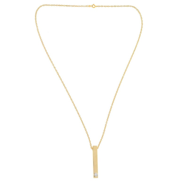 27c504f077 14 Karat Yellow Gold Bar Pendant with Fine Link Chain .42 Carat For Sale