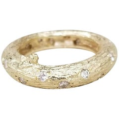 14 Karat Yellow Gold Bark and Diamond Ring