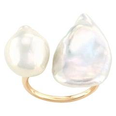 14 Karat Yellow Gold Baroque Pearl Statement Ring