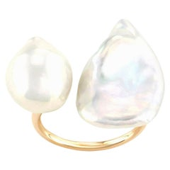 14 Karat Yellow Gold Baroque Pearl Statement Ring