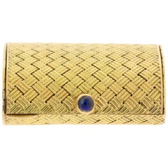 14 Karat Yellow Gold Basket Weave Sapphire Cabochon Pill Box Case Purse
