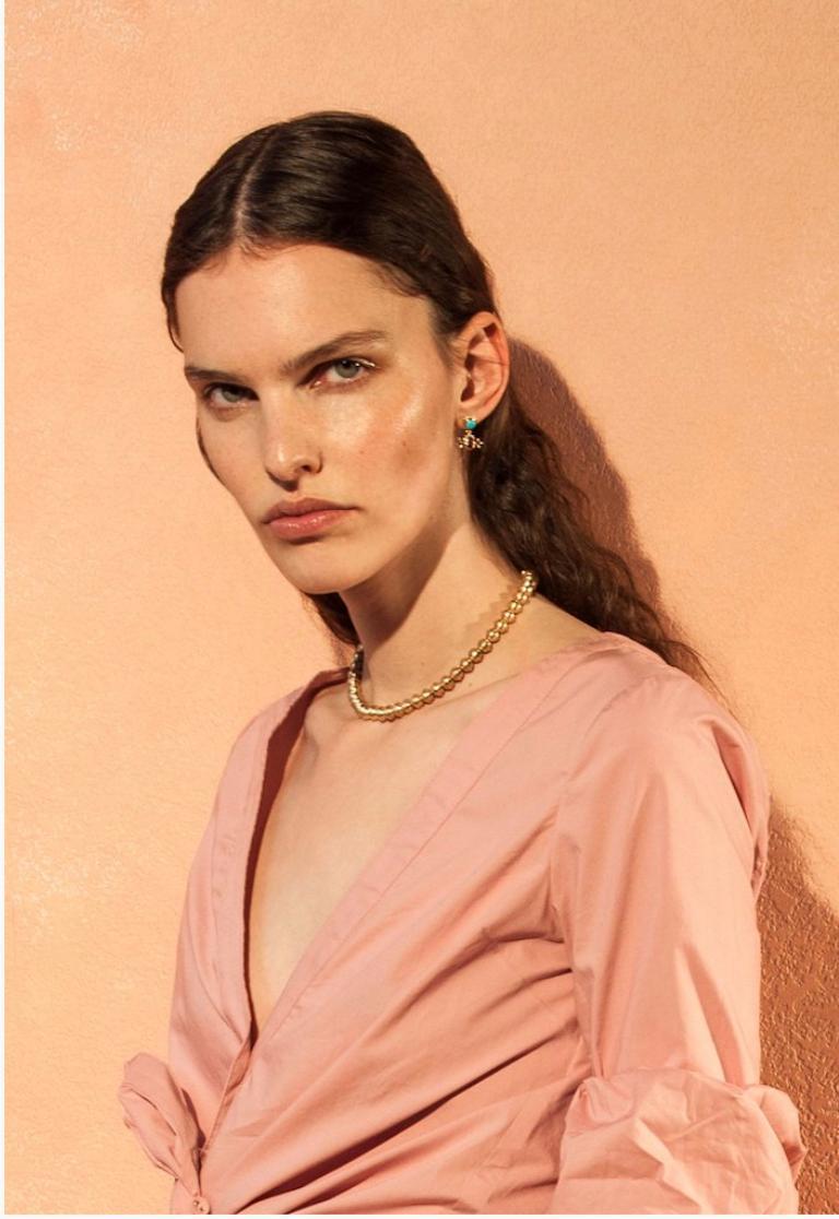 Contemporary Marlo Laz 14 Karat Yellow Gold Bead Squash Blossom Southwestern Collar Necklace For Sale