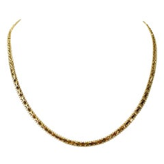 14 Karat Yellow Gold Beaded Foxtail Link Chain Necklace