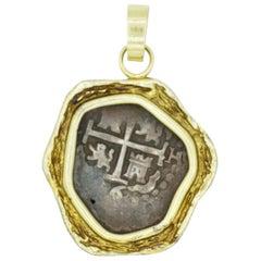 14 Karat Yellow Gold Bezel Pendant with an Old Ship Coin